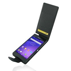 Pdair Deluxe Leather Flip Type Case Carry Cover for Sony Xperia M2 - Black