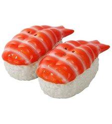 Japanese Ebi Sushi Ceramic Magnetic Salt Pepper Shakers
