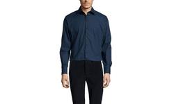 Brio Milano Solid Sport Shirt - Navy - Size: Medium
