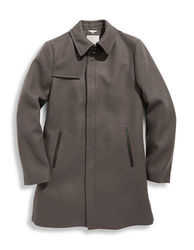Soia & Kyo Emery Leather Trim Wool Coat - Taupe - Size: Medium