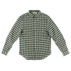 JACHS Men's Plaid Flannel Button-Down Shirt - Green - Size: XL