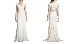 Nicole Miller Kimberly V Neck Bridal Gown - Antique White - Size: 4