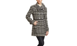 Steve Madden Double Breasted Wool Coat - Black/White - Size: M