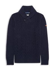 BEN SHERMAN Lambswool Blend Shawl Collar Sweater Navy