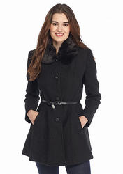 Kensie Women's Single Button Faux Fur Collar Belted Walker - Black