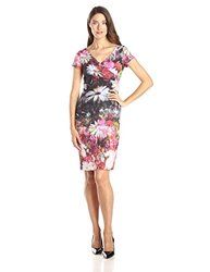 Adrianna Papell Cap Sleeve Floral Cocktail Dress - Pink Multi - Size: 10
