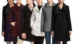 Jessica Simpson Women's Twill Asymmetrical Zip Coat - Black - Size: L