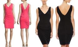 Nicole Miller Women's V-Neck Stretch Cocktail Dress - Black - Size: M