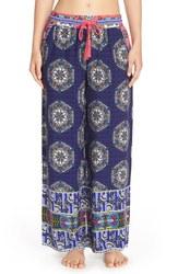 Bollydoll Print Palazzo Pajama Pants - Blue - Size: Small