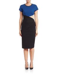 Anne Klein Women's Dress Cap Sleeve Colorblock Dress - Blue - Size: 4