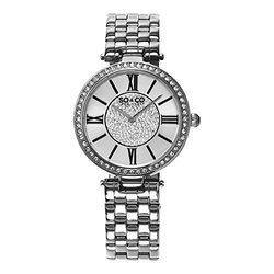Womens Crystal Dress Watch: Silver Tone Band/silver Tone Dial