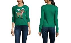 Derek Heart Juniors Reindeer Crew Neck Sweater - Green - Size: M