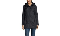 Steve Madden Mini Quilted Jacket with Faux Leather Trim - Black - Large