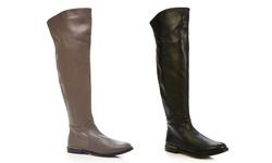 Carmen Marc Valvo Women's Drina Elephant Leather Boot - Grey - Size: 7.5