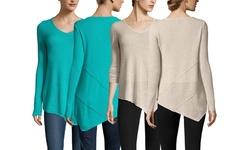 Sandra Cashmere Women's Exposed Seam Tunic - Oatmeal Heather - Size: M