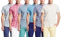 Slate & Stone Men's Checkered Short Sleeve Shirt - Green - Size: M