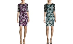 London Times Women's Elbow Sleeve Floral Sheath Dress - Magenta - Size: 4