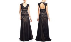 Sue Wong Women's Lace Drop Waist Gown - Black - Size: 14
