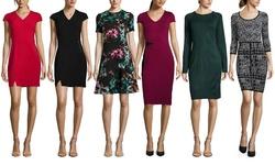 Marc New York Women's Cap Sleeve Ponte Sheath Dress - Bordeaux - Size: 12