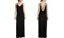 Dakota Women's Sleeveless Criss Cross Back Maxi Dress - Black - Size: S