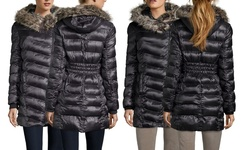 Rachel Rachel Roy Women's Waist Puffer Coat With Fur - Gunmetal - Size: M