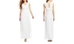 Patra Women's Chiffon Pearl Beaded Waist Long Dress - Ivory - Size: 12
