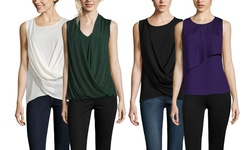 Tahari Sleeveless V-Neck Cross Front Blouse: Vineyard - Medium