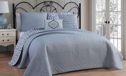 Avondale Manor 5 Piece Palermo Reversible Quilt Set - Grey - Size: Queen