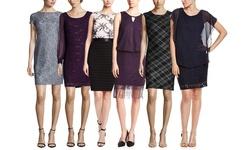 Scarlett Women's Contrast Long Sleeve Cocktail Dress - Black - Size: 12