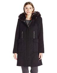 Dawn Levy 2 Lara Wool Coat With Faux Fur Collar - Black - Size: Medium