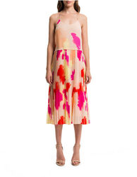 1 State Women's Pleated Colorful Dress - Sand - Size: Medium