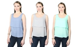 Harve Benard Women's Layered Tank Top - Opal - Size: Large