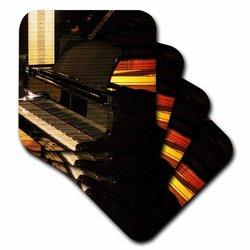 Black Piano Music Instrument-Soft Coasters - Set of 4