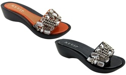 NY VIP Women's 825 Wedge Sandals - Cognac - Size: 8.5