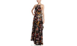 Olivaceous Women's Floral Print Maxi Dress - Black/Pink/Green - Size: M