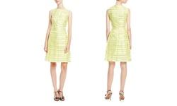 Tahari Arthur S Levine Women's Fit & Flare Dress - Citrine Green - Size: 8