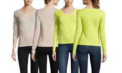 Mai Cashmere Cashmere Wide V-Neck Sweater - Citrus - Size: Medium
