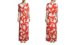Ark & Co. Women's Short Sleeve Floral Maxi Dress - Orange - Size: Medium