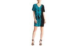 Adrianna Papell Women's Printed Drop Shoulder Dress - Black/Teal - Size: M