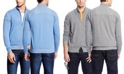 Raffi Linea Uomo Men's Long Sleeve Zip Front Jacket - Blue - Size: Small