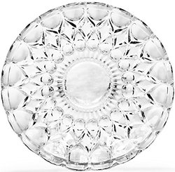 Circleware Fancy Clear Glass Dessert Plates Set of 4 - Legacy Platter