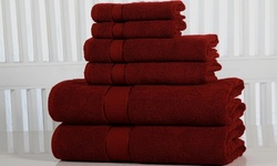 Elegance Spa 600GSM 100% Fine Combed Cotton Towel 6 Pcs Set - Biking Red