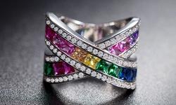 Women's 18K White Gold Plated Rainbow Crystal Swarovski Elements - Size: 7