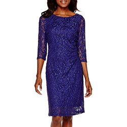 Scarlett 3/4 Sleeve Cocktail Dress Royal - Blue - Size: 8
