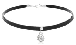 Vegan Leather Choker with Swarovski Element Disc Necklace - Black