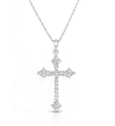 "10K White Gold Plated 18"" 1/4CTTW Diamond Cross Pendant"