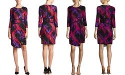 Amelia Women's 3/4 Sleeve Dress - Blue Multi - Size: XS