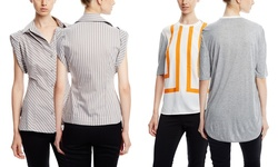 L A M B Women's Retro Stripe Combo Tee - Ivory/Orange - Size: Medium