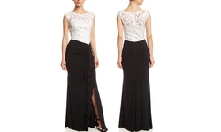 DECODE (Black/White size 4) - 400002228493 Lace Colorblock Gown