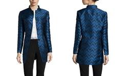 Anne Klein Women's Jacquard Nehru Jacket - Raven Blue Combo - Size: 12